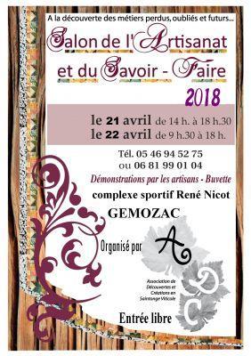 Salon de l 39 artisanat gemozac 17260 21 04 2018 for Salon de l artisanat valence