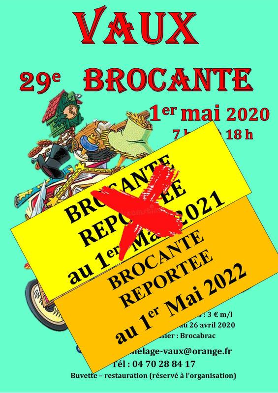 Calendrier Brocante Allier 2022 29ème Brocante et Vide Greniers   Vaux (03190)   01 Mai 2022